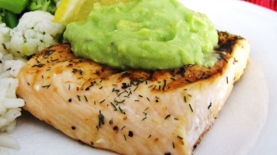 Gut Health Recipe-Grilled Salmon with Avocado Dip
